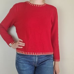 St. John Sport red boxy wool blend sweater with gold trim
